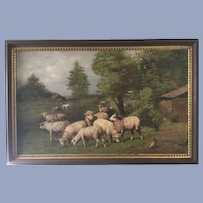 Antique Sheep Oil Painting Signed 1911 Wonderful