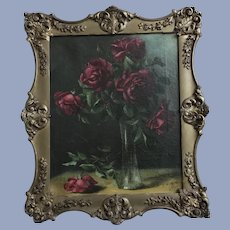 Beautiful Antique Roses Oil Painting Signed