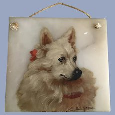 Antique Dog Oil Painting on Marble Plaque S. Bevilacqua