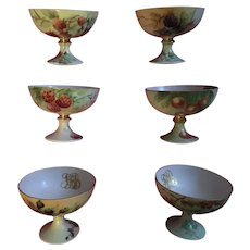 Set of 6 Antique Hand Painted Fruit Punch Cups