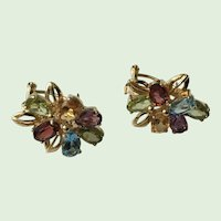 Gorgeous 14K Gold Earrings With Colored Stones