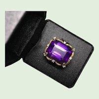 Stunning Fine 21 Carat Brazilian Amethyst and Diamond 14K Gold Ring