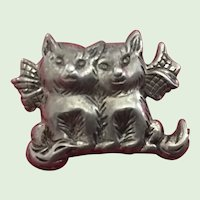 Vintage Sterling Silver Cats Pin Brooch