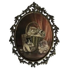 Precious Vintage Kitten Cat Oil Painting Signed