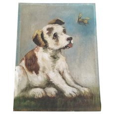 Vintage Dog With Bee Oil Painting on Board Signed