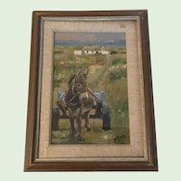 Vintage Irish Oil Painting Donkey in Connemara Rosaleen Smith