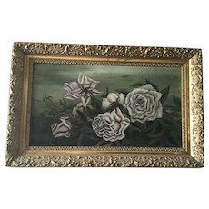 Antique Victorian White Roses Oil Painting