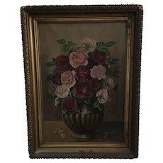 Antique 19th Century Still Life Roses Oil Painting