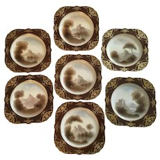 Magnificent Antique Set of 7 Royal Worcester England Plates R. Rushton Hand Painted Scenes With Lavish Gold