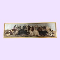 Fantastic 12 Dogs Oil Painting Antique Yard Long