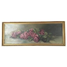 Long Antique Roses Oil Painting Signed and Dated 1907