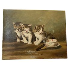 Antique French Cats Oil Painting F. Haynault 1915