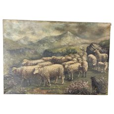 Gorgeous Antique 1913 Sheep Oil Painting