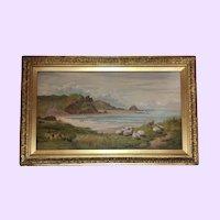 Stunning Antique Sheep Oil Painting Mabel Winn 1919
