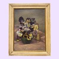 Vintage Pansies Still Life Oil Painting Modernism Bonnie Walson