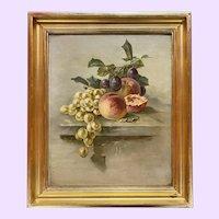 Antique Fruit Still Life Oil Painting M. Martin 1908