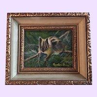 Vintage Chipmunk Oil Painting By Richard Clive