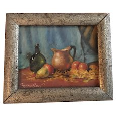 Vintage Still Life Fruit Oil Painting By Richard Clive
