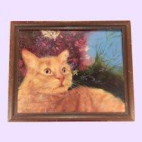 Vintage Orange Ginger Cat Oil Painting Signed R.B.