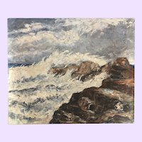 Vintage Seascape Oil Painting By Richard Clive