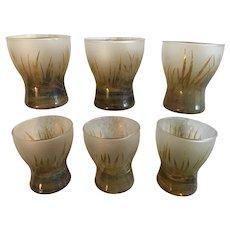 Vintage Polish Horna Etched Art Glass Set of 6 Shot Glasses