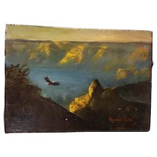 Vintage Miniature Landscape Oil Painting Richard Clive