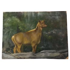 Nice Vintage Animal Art Oil Painting Richard Clive