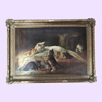 Fine Antique Cats Kittens Oil Painting Signed