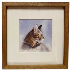 Vintage Watercolor of a Tabby Cat Signed A. Barry