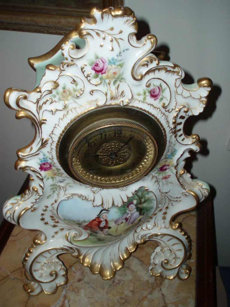 Rare 17 Inch Antique French Limoges Porcelain Clock The