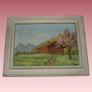 Vintage Oil Painting of Mountainside Cabin, Signed P. Chabloz