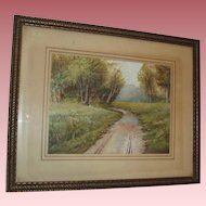 Beautiful Very Old Landscape Watercolor Painting Country Path