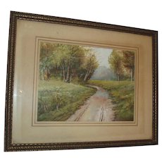Sale Pending - Beautiful Very Old Landscape Watercolor Painting Country Path