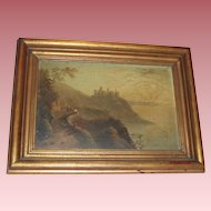 Antique 1863 European Oil Painting Mountain Path to Castle Overlooking the Sea