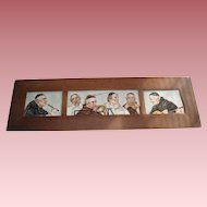 Three Antique French Limoges Porcelain Plaques of the Musical Monk Band, Signed Leavitt