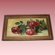 W. Stott 1894 Antique Still Life Roses Oil Painting on Canvas