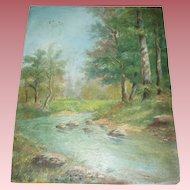 Lovely Antique Landscape With Stream Oil Painting