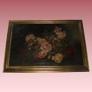 Exceptional Antique Oil Painting of Roses With Dewdrops