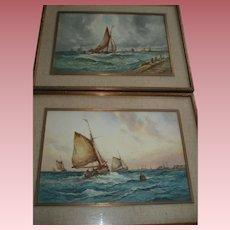 Fabulous Pair of Aubrey Ramus (Francis E. Jamieson 1895-1950) Watercolors, Seascapes