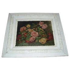 Antique Oil Painting of Roses