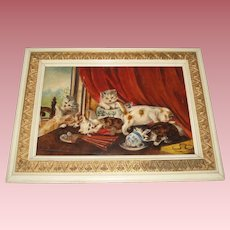 Antique Kittens Oil Painting