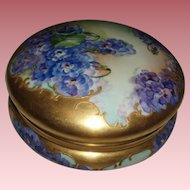Gorgeous Large Antique French Limoges Porcelain Covered Powder or Jewel Box, Violets, Dripping Gold