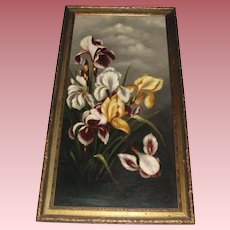 Dramatic Old Still Life Oil Painting of Iris Flowers, Signed