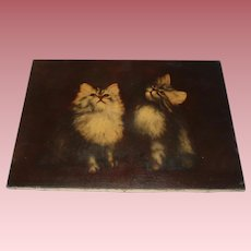 Fine Antique Oil Painting of Cats, Signed Baker