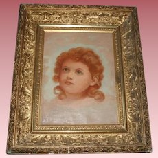 Antique Angelic Portrait Oil Painting on Canvas