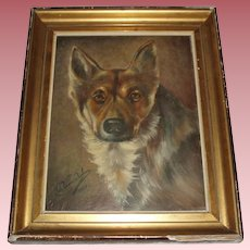 Old Oil Painting of a Dog, Signed, 1926