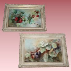 Gorgeous Pair Antique French Limoges Porcelain Fruit Plaques, Jessie May Washburn