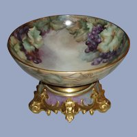 Antique French Limoges Punch Bowl Ornate Stand, Hand Painted Grapes and Lavish Gold