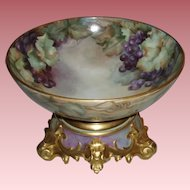 Beautiful Antique French Limoges Punch Bowl With Ornate Stand, Hand Painted Grapes and Lavish Gold