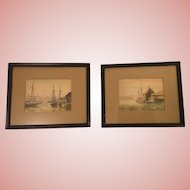 Pair Nautical Watercolor Paintings Signed Bell 63